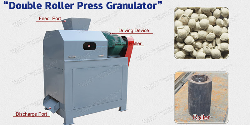 Roller extrusion granulator for chemical mineral fertilizer powder