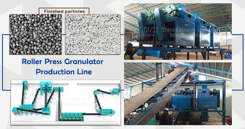 Organic and inorganic fertilizer roller extrusion granulation production process